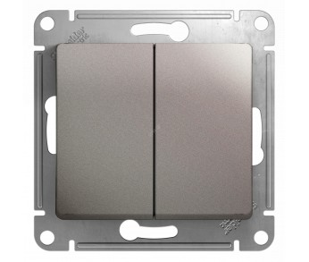 GLOSSA Выключатель 2кл. (сх.5) платина (упак 20шт.)