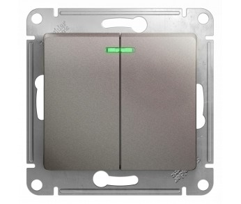 GLOSSA Выключатель 2кл. с подсв. (сх.5а) платина (упак 20шт.)