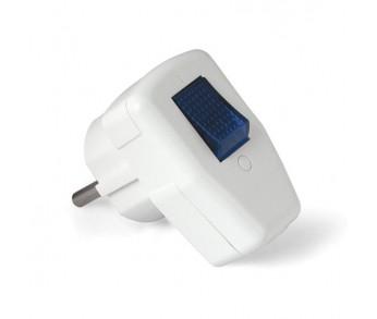 Вилка с/з с выкл. белая 16А 250В (0056)Universal
