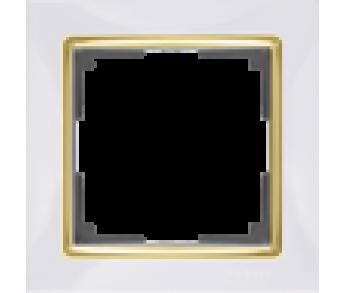 Werkel Рамка на 1 пост белый/золото Snabb