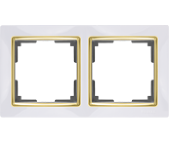 Werkel Рамка на 2 поста белый/золото Snabb