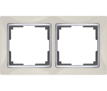 Werkel Рамка на 2 поста белый/серебро Snabb