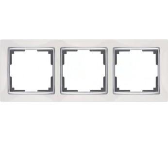 Werkel Рамка на 3 поста белый/серебро Snabb
