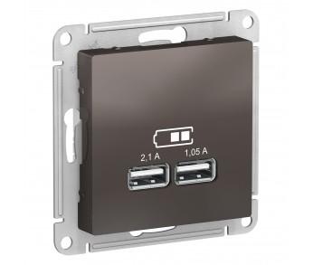 ATLASDESIGN Розетка USB 5В 1п. x 2,1А 2п. х 1,05А мокко (упак.8шт.)