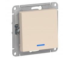ATLASDESIGN Выключатель 1кл. с подсв. (сх.1а) 10AX бежевый (20шт/упак)