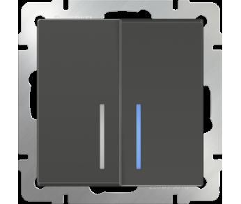 Werkel Выключатель 2-клавишный проходной с подсветкой серо-коричневый