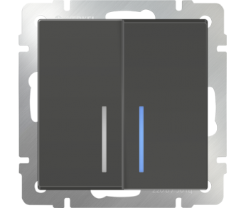 Werkel Выключатель 2-клавишный с подсветкой серо-коричневый