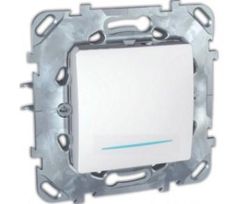 UNICA Выключатель 1-кл. с индик. бел