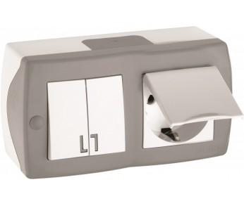 Блок выключатель 2 кл.+ розетка с/з с крышкой серый