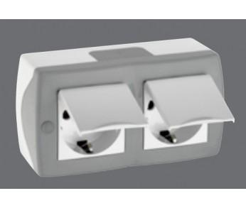 Блок розетка 2-ая с/з с крышкой серый
