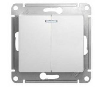 GLOSSA Выключатель 2кл. с подсв. (сх.5а) бел. (упак 20шт.)