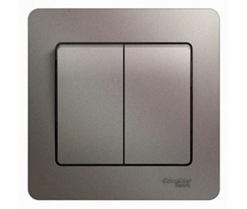 GLOSSA Выключатель 2кл. в сборе (сх.1) платина. (упак. 20шт.)
