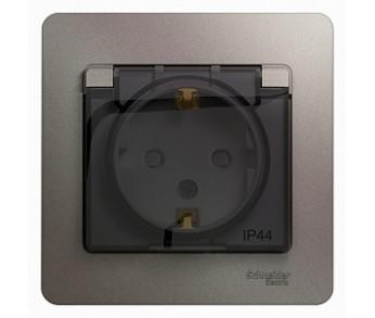 GLOSSA Розетка двойная с/з с/ш с крышкой в рамке IP44 платина (упак.10шт.)