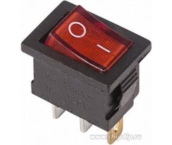 Выключатель клавишный 250V 6А (3с) ON-OFF красный с подсветкой Mini REXANT
