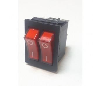 Выключатель клавишный 250V 15А (6с) ON-OFF красный с подсветкой ДВОЙНОЙ (RWB-511, SС-797) REXANT