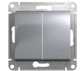 GLOSSA Выключатель 2кл. (сх.5) алюминий (упак 20шт.)