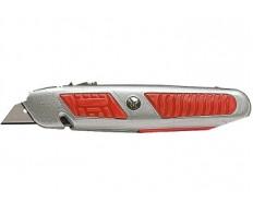 Нож 18мм выдвижное трапец.лезвие отделение для лезвий метал.корпус MATRIX