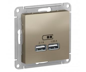 ATLASDESIGN Розетка USB 5В 1п. x 2,1А 2п. х 1,05А шампань (упак.20шт.)