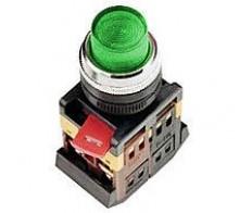 Кнопка зеленая ABLFР-22 с выступом с подсветкой неон 1з+1р 240В IEK