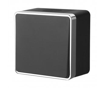 Werkel Выключатель одноклавишный чёрный с серебром Gallant