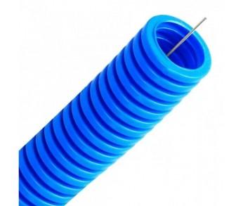 Труба гофрированная ППЛ ⌀50мм с протяжкой легкая синяя (15м) DKC