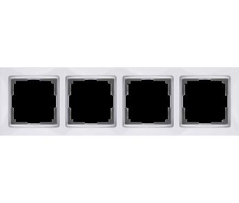 Werkel Рамка на 4 поста белый/серебро Snabb