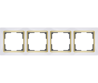 Werkel Рамка на 4 поста белый/золото Snabb