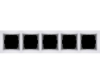 Werkel Рамка на 5 поста белый/серебро Snabb
