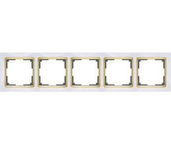 Werkel Рамка на 5 поста белый/золото Snabb