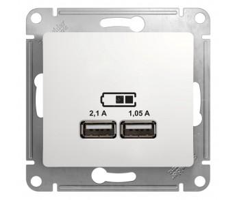 GLOSSA Розетка двухместная USB бел. 5В/2100мА