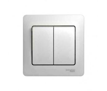 GLOSSA Выключатель 2кл. в сборе (сх.5) бел. (упак. 15шт.)