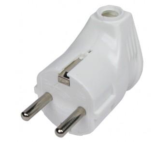 Вилка с/з угловая белая 16А 250В (А105) Universal 30шт