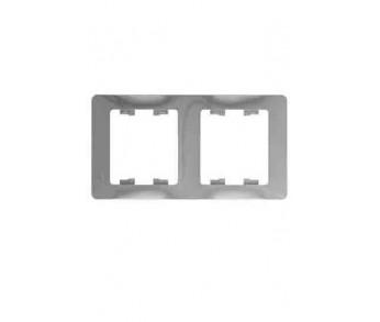 GLOSSA Рамка 2-ая гориз. алюминий (упак. 30шт.)