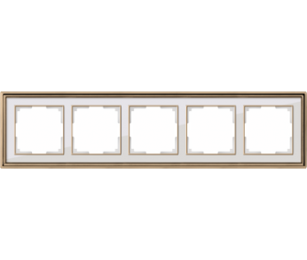 Werkel Рамка на 5 постов золото/белый Palacio