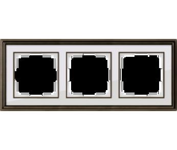 Werkel Рамка на 3 поста бронза/белый Palacio