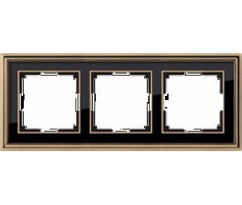 Werkel Рамка на 3 поста золото/чёрный Palacio