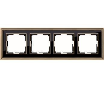 Werkel Рамка на 4 поста золото/чёрный Palacio