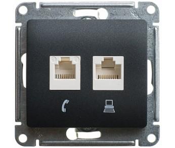 GLOSSA Розетка комп. RJ45+RJ45 кат.5е антр (упак. 10шт)
