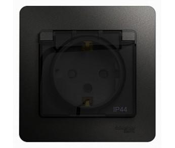 GLOSSA Розетка с/з с/ш с крышкой в рамке IP44 антр. (упак.10шт.)