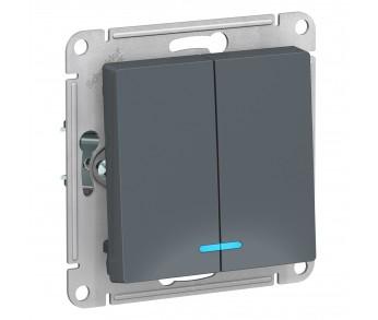 ATLASDESIGN Выключатель 2кл. с подсв. (сх.5а) гифель (10шт/упак)