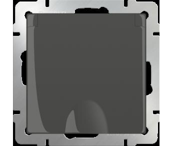Werkel Розетка 1-ая влагозащищенная с заземлением с защитной крышкой и шторками серо-коричневая