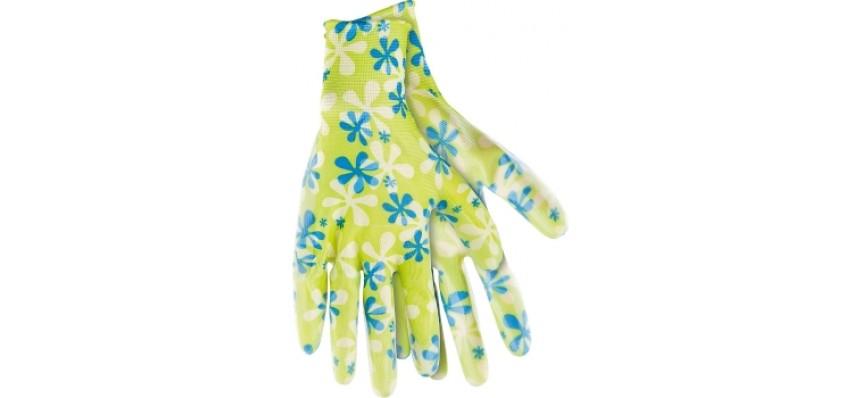 Перчатки садовые из полиэстера с нитриловым обливом зеленые PALISAD