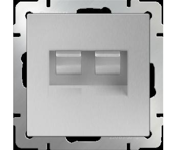 Werkel Розетка телефонная RJ-11 и Ethernet RJ-45 серебряная