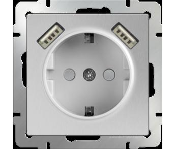 Werkel Розетка 1-ая с заземлением, шторками и USB х2 серебряная (W1171506)