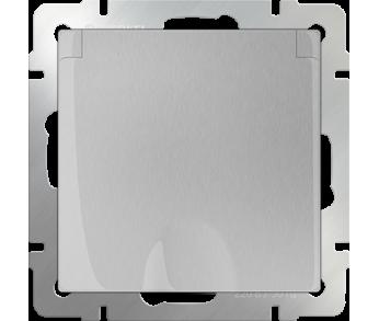 Werkel Розетка 1-ая влагозащищенная с заземлением с защитной крышкой и шторками серебряная