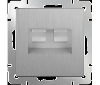 Werkel Розетка телефонная RJ-11 и Ethernet RJ-45 серебряная рифленая