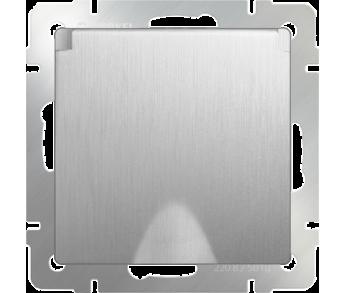 Werkel Розетка 1-ая влагозащищенная с заземлением с защитной крышкой и шторками серебряная рифленая
