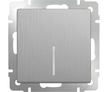 Werkel Выключатель 1-клавишный с подсветкой серебряный рифленый