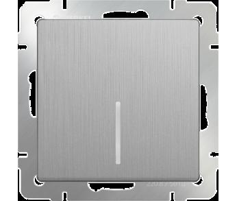 Werkel Выключатель 1-клавишный проходной с подсветкой серебряный рифленый