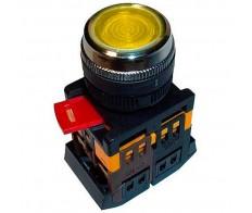 Кнопка желтая ABLFS-22 плоская с подсветкой неон 1з+1р 240В IEK